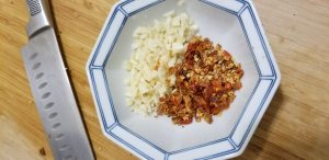 diced garlic and chillies in a bowl