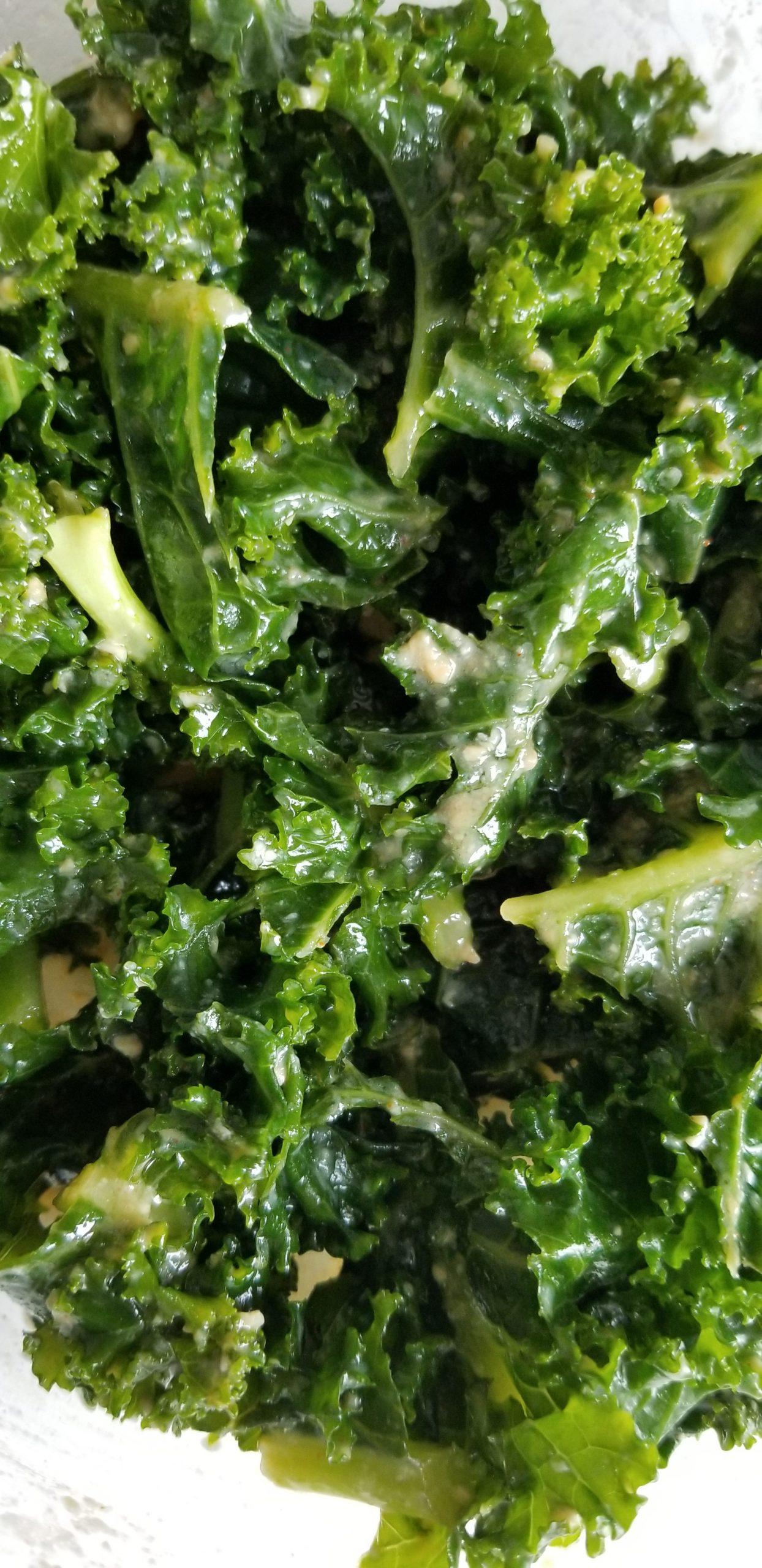 Kale salad with miso-lemon dressing